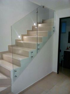Staircase Railings, Staircases, Kitchen Cabinet Design, Kitchen Cabinets, Glass Stairs, Hallways, Ideas Para, Man Cave, Interior Design