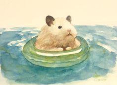 Hamster illustration by gotte Cute Animal Drawings, Cute Drawings, Japanese Hamster, Funny Hamsters, Cute Baby Animals, Guinea Pigs, Cat Art, Cute Cartoon, Oeuvre D'art