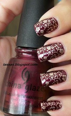 """China Glaze Short & Sassy + China Glaze 2030 + konad plate Gotta find this color for fall! Dark Nails, Red Nails, Love Nails, Pretty Nails, Pastel Nails, Acrylic Nail Designs, Nail Art Designs, Acrylic Nails, Clear Nails"