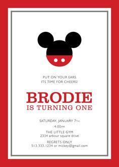 mickey mouse birthday party invitation . custom. $15.00, via Etsy.