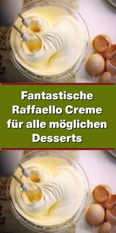 Fantastic raffaello cream for all kinds of desserts - Kuchencreme - Pudding Desserts, Dessert Recipes, Coconut Sweetened Condensed Milk, Butter Croissant, Kinds Of Desserts, Chocolate Blanco, Coconut Cream, Christmas Desserts, Cupcakes