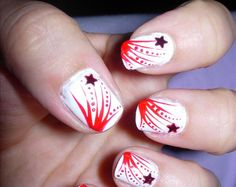red and white star nails