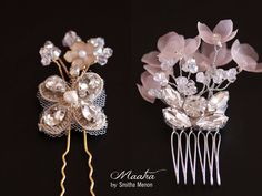 Bridal comb and hairpin set- Gold or Silver hair comb- silk flower comb- lace rhinestone hair pin- style 200 and 210