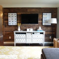 Best Pallet Wall: boards clean & stained dark oak before mounting (prevents warping & helps find best matching pieces)