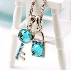 Blue Crystal Key and Lock Shaped Pendant Necklace