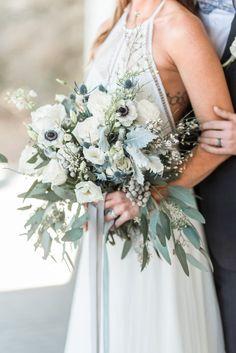 Eucalyptus, anemone and lamb's ear wedding bouquet. #naturalbouquet #romanticwedding #weddingbouquets