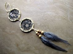 Dream Catcher  Two Rings Beige Suede Gray by peacefrogdesigns, $28.00