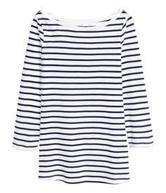 Jerseyshirt | Dunkelblau/Gestreift | Damen | H&M AT