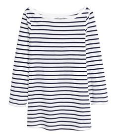 Jerseyshirt | Dunkelblau/Gestreift | Damen | H&M AT