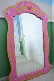I wanted to get a large mirror for my daughter's room for when she plays dress-up. Originally I was thinking to do something in decoden. Disney Wall Murals, Princess Mirror, Dress Up Wardrobe, Grey Crib, Carousel Designs, Daughters Room, Hand Painted Furniture, Diy For Girls, Bedroom Storage