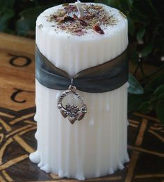 MOON GODDESS CLADDAGH Handfasting Unity Soy Pillar Candle with Traditional Celtic Handfasting Herbs and Handpainted Luxury Hanah Silk Ribbon.