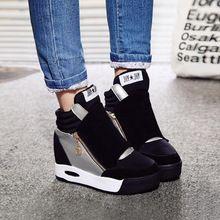 2016 hiver chaussures femme bottes occasionnels de la mode wedge femmes chaussures hauteur croissante chaussures plate
