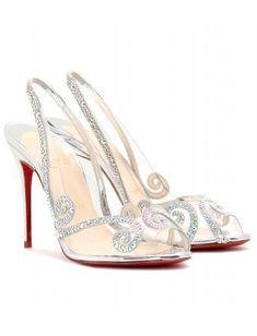 Christian Louboutin - AU HAMEAU STRASS 100 TRANSPARENT STILETTOS - mytheresa.com $1495.00 #weddingshoes