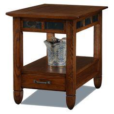 Leick 10907 Slatestone Rustic Oak End Table - 10907