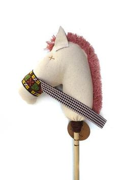 Sandy: the Stick Horse in Natural Denim with Vintage Pink Mane  Hobby Horse  Stick Horse  Kids Toys  Modern Toys  Wood Toys  Handmade Toys  Baby Gifts  Ewmccall  Home Decor  Nursery Decorations  Pretend Play 