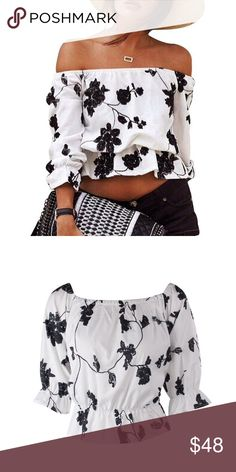 Sexy Printed off-shoulder Floral Crop Top Blouse Material: Polyester Style: Stretch / Bodycon Size S to XL matches US 4-10 Tops Crop Tops