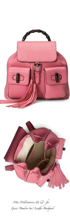 Gucci ~ 'Bamboo Sac' Leather Backpack, Coral Pink 2015