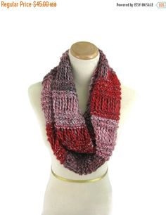 Christmas In July Knit Circle Scarf Infinity by ArlenesBoutique