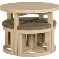 Natural wood minimalist space saver dining set