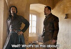 Well, what's this all about? The Musketeers 2x09 Aramis Treville Athos Porthos D'Artagnan