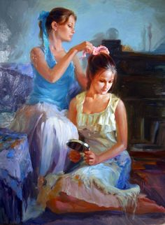 Vladimir Volegov - Caring Touch Painting.  Love this, captures the special relationship between sisters...