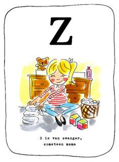 Alfabetkaart, Z is van zwanger, zometeen mama- Greetz
