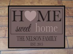 Personalized Doormat Home Sweet Home Welcome Mat Custom Family Name New Home Wedding New Home Gift by PreppyPinkies on Etsy