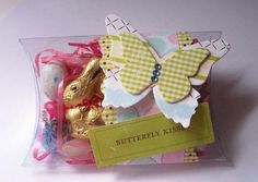 Clear pillow box with 'Beautiful Butterflies' die, from Stampin Up.