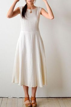 8706891f179 This Chic white linen dress featured Back V neck line