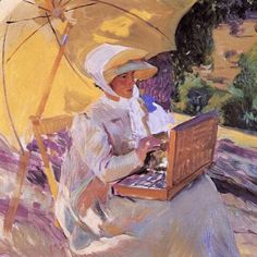 Mary painting at the Pardo by Joaquin Sorolla y Bastida - Reproduction Oil Painting Figure Painting, Painting & Drawing, Canvas Art, Canvas Prints, Art Prints, Caspar David Friedrich, National Gallery, Spanish Painters, Art Database