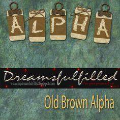Dreamsfulfilled: Old Brown Alpha. Alfabeto en marrón con toque kraft.