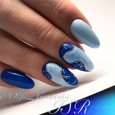 and Beautiful Nail Art Designs Manicure Nail Designs, Blue Nail Designs, Nail Designs Spring, Cool Nail Designs, Acrylic Nail Designs, Nail Manicure, Blue Nails, My Nails, American Nails
