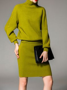 Green Wool Blend Elegant Turtleneck Two Piece Sweater Dress