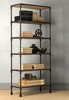 modern furniture design, shelving systems recycling pipes and salvaged wood