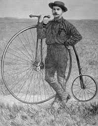 Thomas Stevens, first bicycle world tour of the history. Vespa Motorbike, Antique Bicycles, Penny Farthing, Cafe Racer Build, Old Bikes, Vintage Bicycles, Painting Prints, Printmaking, Wrapped Canvas