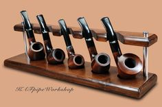 Pipe rack/Stand for 5 Smoking pipes KAF5/Showcase Rack/Holder for 5 Tobacco Pipes/Handcrafted stand for 5 pipes from ASH TREE/Pipe stand by KAFpipeWorkshop on Etsy