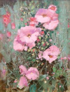 Irby Brown, Chamisa and Hollyhocks, oil, 16 x 12.