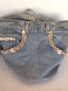 Bag Purse Crossbody Denim Jeans Shell Embelished Designer Hip Fashion Blue #unknown #MessengerCrossBody
