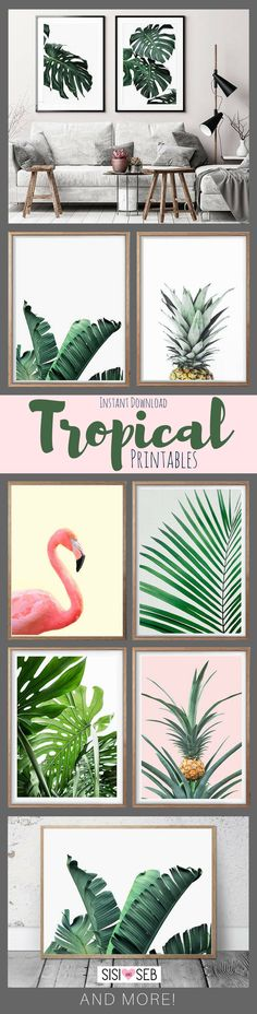 Tropical prints instant download. Leaf, pineapple and flamingo printables for art & gallery walls. #tropical #gallery #ad #download