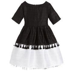 1885f9a25434 Lazy Francis Girls Black  amp  White Raw Silk Dress at Childrensalon.com  Beautiful Outfits