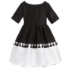 Lazy Francis Girls Black & White Raw Silk Dress  at Childrensalon.com