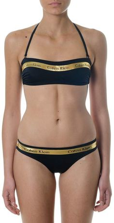 Calvin Klein Black Two Pieces Swimsuit With Golden Details Calvin Klein  Swimwear 7832cf52b25