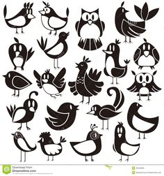 Stylized Birds Stock Photos, Images, & Pictures - Images - Page 3 Cartoon Birds, Cute Cartoon, Birds For Kids, Black And White Artwork, Photo Libre, Comic, Bird Silhouette, Cute Birds, Character Drawing