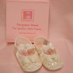 Baby shoes girls christening beaded with diamante cross. So sweet!