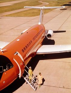 Braniff International BAC 111-203AE One-Eleven N1544 parked at Dallas-Love Field, circa 1966. Exiting the plane are two of Braniff's distinctive, Pucci-clad flight attendants. (Photo: Braniff/BFC Collection)