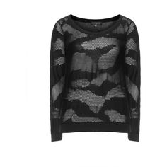 Eloquii Black Plus Size Mesh animal print sweater ($97) ❤ liked on Polyvore
