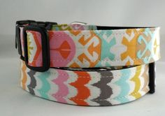 Dog Collar - Dog, Martingale or Cat Collar - All Sizes - Spa Scallops/Geo    Etsy- Learned Stitchworks