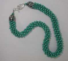 Slinky Turquoise Beads Kumihimo Necklace   by SilverSeahorseDesign, $45.00