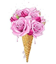 by Rina Rusyaeva Eis Tattoo, Watercolor Illustration, Watercolor Art, Pink Roses, Pink Flowers, Fashion Wallpaper, Cute Drawings, Girly Things, Creations