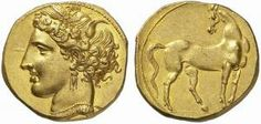 Head of Tanit-Persephone; Carthage, 260 BC. acsearch.info - The ancient coin search engine
